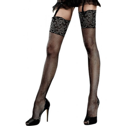 Glittle Lace Top Fishnet Thigh High