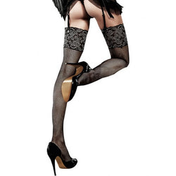 Glitter Lace Top Fishnet Thigh Highs  - Club X