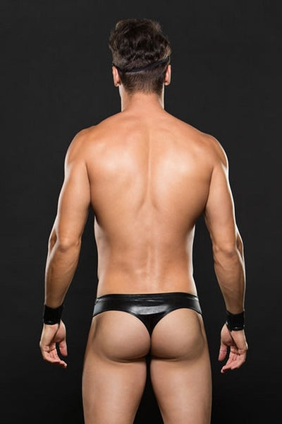 ENVY Biker Thong, Cuffs & Hat Set
