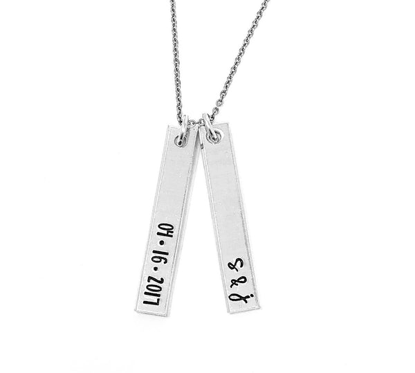 Initials & Date Double Vertical Bar Necklace