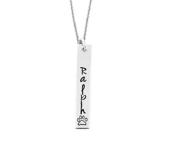 Pet Name Vertical Bar Necklace