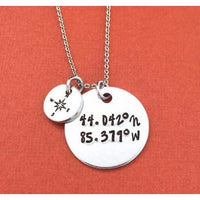 Coordinates Compass Necklace