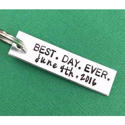 Best Day Ever Wedding Date Keychain