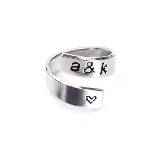 Initials Heart Spiral Ring