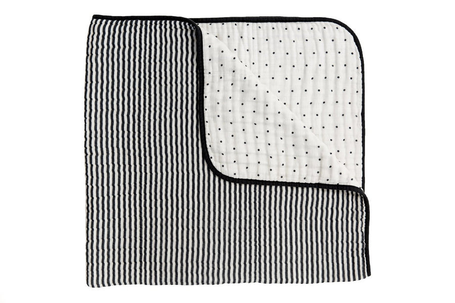 BLACK AND WHITE STRIPE REVERSIBLE QUILT, Quilt - Tnee's