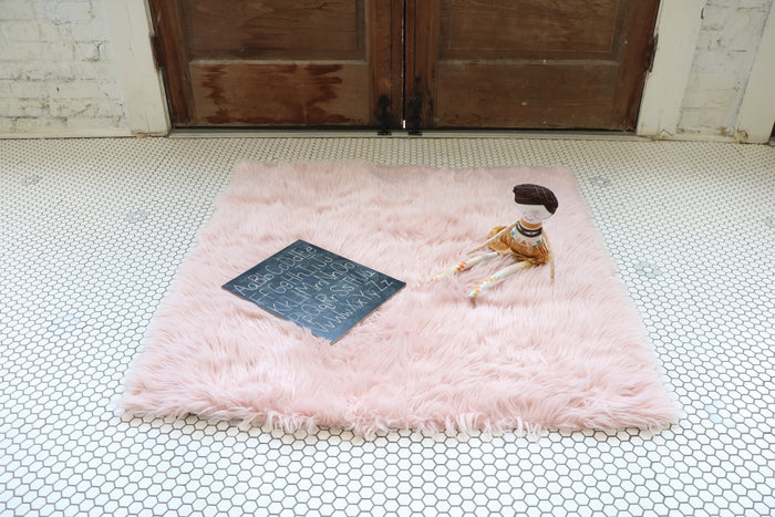 Faux Fur Rug - Blush Pink