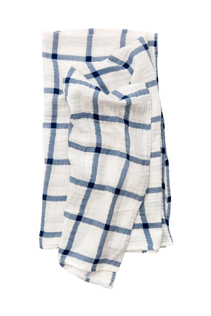 NAVY PLAID SWADDLE, swaddle - Tnee's