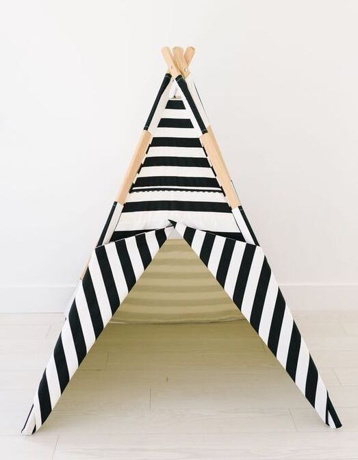 all black and white striped Tnee's Tpee, teepee - Tnee's