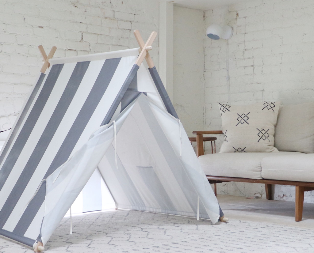 Gray/White Striped Tnee's A-frame Tent, Tent - Tnee's