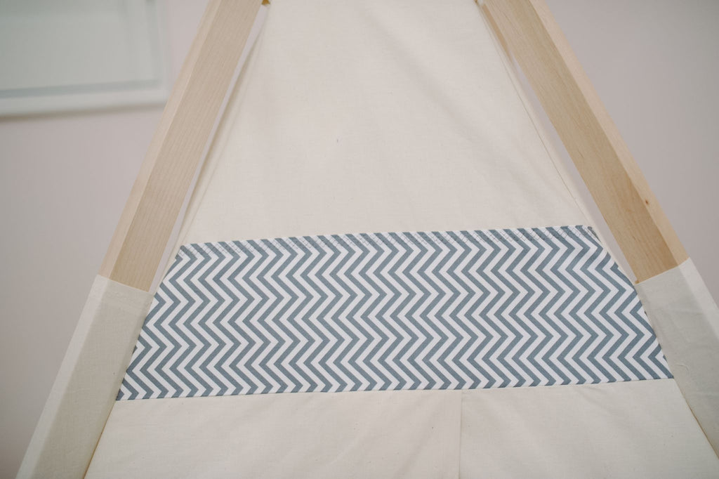 natural gray chevron teepee Tnee's Tpee