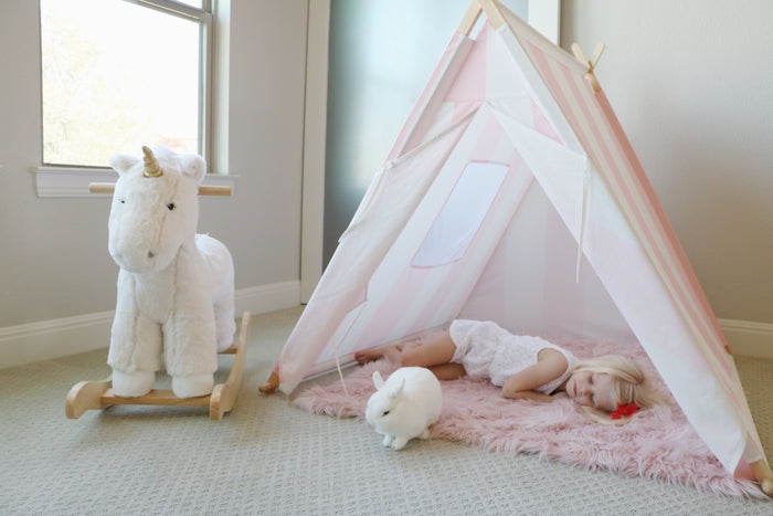 pink/white striped Tnee's A-frame tent