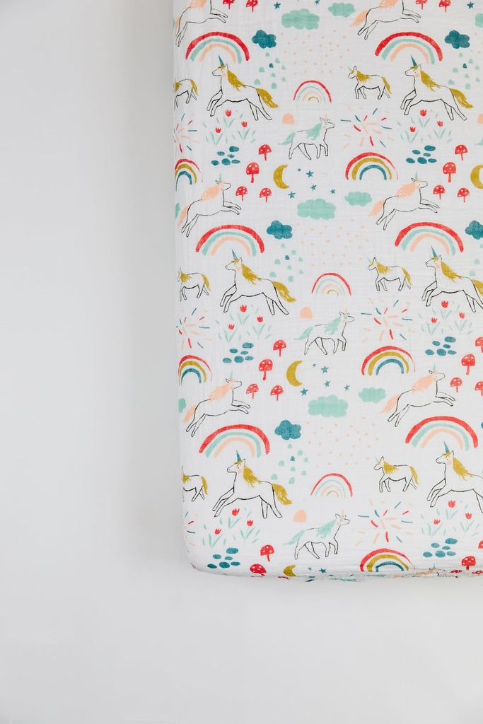 Unicorn and Rainbow Crib Sheet