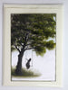 "(SOLD) ""Waiting Here For You"" Original Miniature Painting by Artist Philippe Fernandez 2"