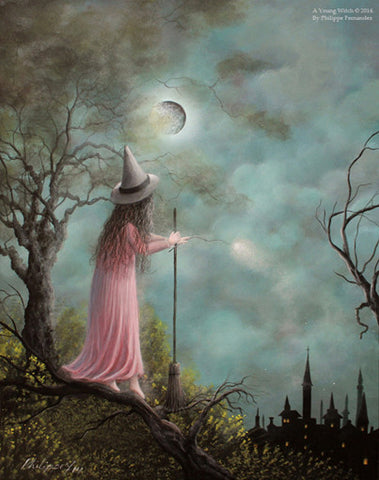 "(SOLD) ""A Young Witch"" Original Painting By Evocatist Acrylic Landscape Artist Philippe Fernandez."