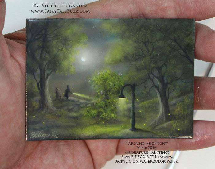 "(SOLD) ""Around Midnight"" Original Miniature Landscape Painting By Philippe A. Fernandez."