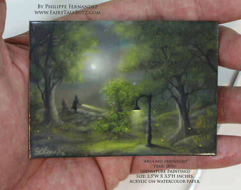 """Around Midnight"" Original Miniature Landscape Painting By Philippe A. Fernandez."