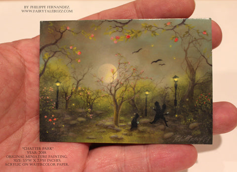 """Chatter Park."" Original Miniature Landscape Painting By Philippe A. Fernandez."