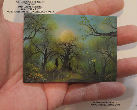 """Children Of The Night"" Original Miniature Landscape Painting By Philippe A. Fernandez."