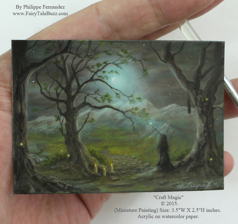 "(SOLD) ""Craft Magic"" Original Miniature Landscape Painting By Philippe A. Fernandez."