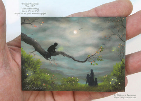 "(SOLD) ""Curious Wanderers"" Original Miniature Landscape Painting By Philippe A. Fernandez."