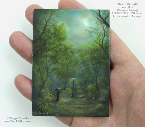 "(SOLD) ""Dark Of The Night"" Original Miniature Landscape Painting By Philippe A. Fernandez."