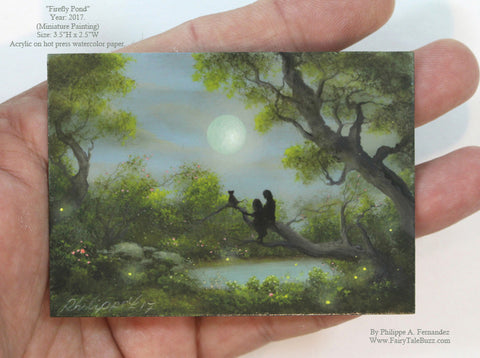"(SOLD) ""Firefly Pond"" Original Miniature Landscape Painting By Philippe A. Fernandez."