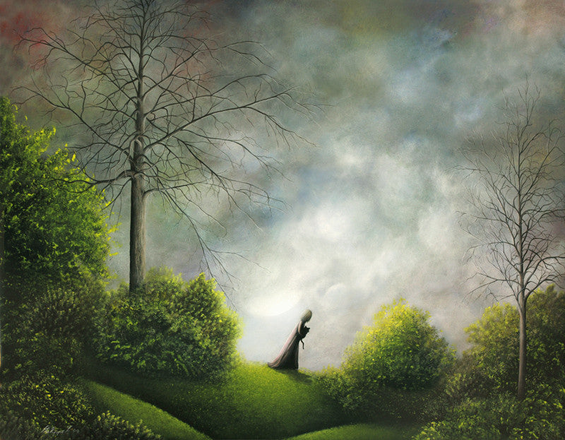 """Heading Home"" Framed 20"" x 16"" Original Acrylic Painting By Fairy Tale Fantasy Landscape Artist Philippe Fernandez."