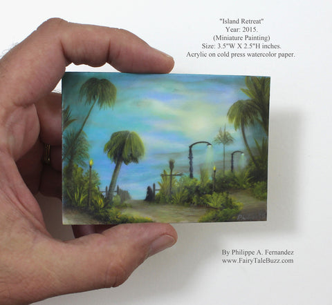 """Island Retreat"" Original Miniature Landscape Painting By Philippe A. Fernandez."