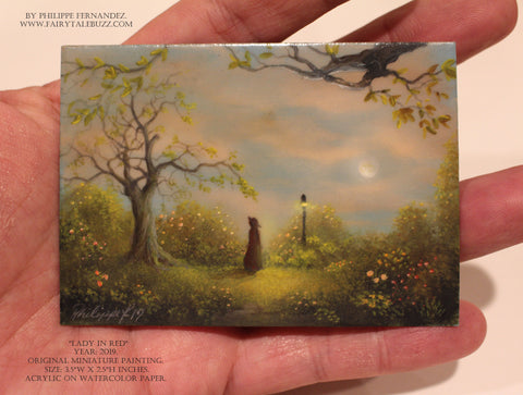 """Lady in Red"" Original Miniature Landscape Painting By Philippe A. Fernandez."