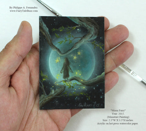 "(SOLD) ""Moon Fairy"" Original Miniature Landscape Painting By Philippe A. Fernandez."