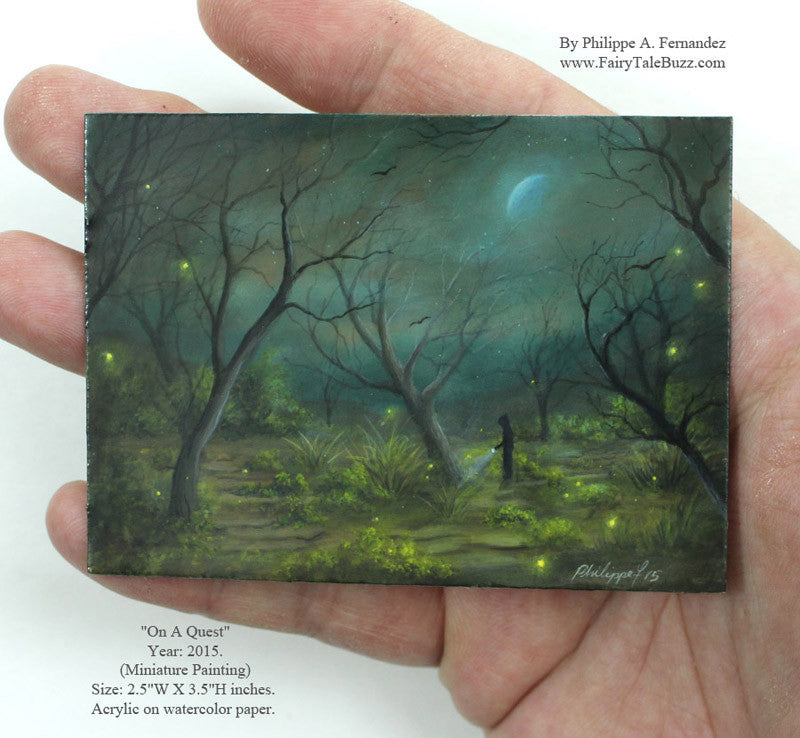"(SOLD) ""On A Quest"" Original Miniature Landscape Painting By Philippe A. Fernandez."