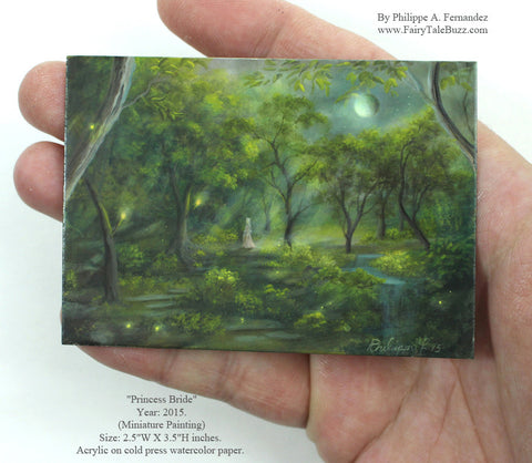 "(SOLD) ""Princess Bride"" Original Miniature Landscape Painting By Philippe A. Fernandez."