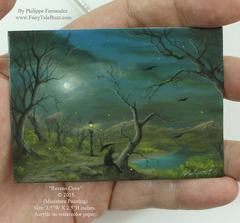 "(SOLD) ""Ravens Cove"" Original Miniature Landscape Painting By Philippe A. Fernandez."