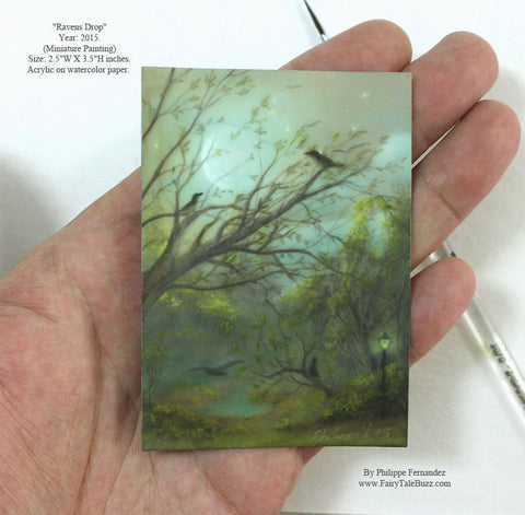 """Ravens Drop"" Original Miniature Landscape Painting By Philippe A. Fernandez."