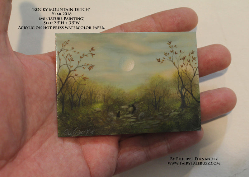 """Rocky Mountain Ditch"" Original Miniature Landscape Painting By Philippe A. Fernandez."