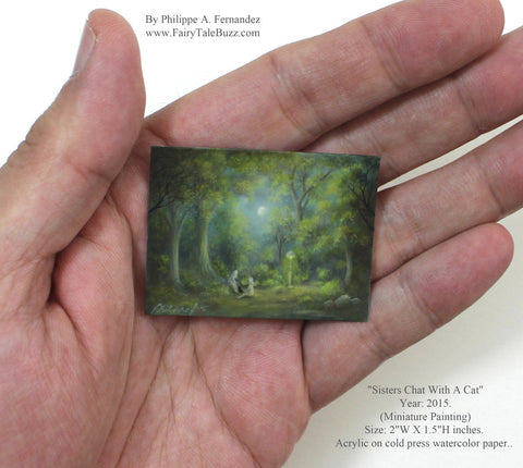 """Sisters Chat With A Cat"" Original Miniature Landscape Painting By Philippe A. Fernandez."