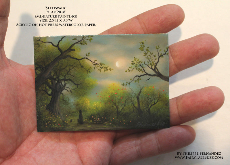"""Sleepwalk"" Original Miniature Landscape Painting By Philippe A. Fernandez."