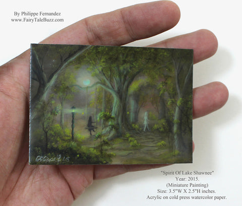 "(SOLD) ""Spirit Of Lake Shawnee"" Original Miniature Landscape Painting By Philippe A. Fernandez."