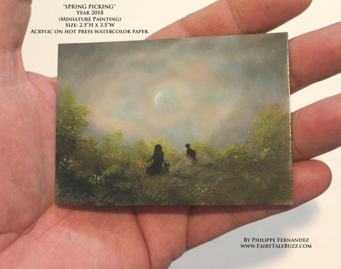 """Spring Picking"" Original Miniature Landscape Painting By Philippe A. Fernandez."