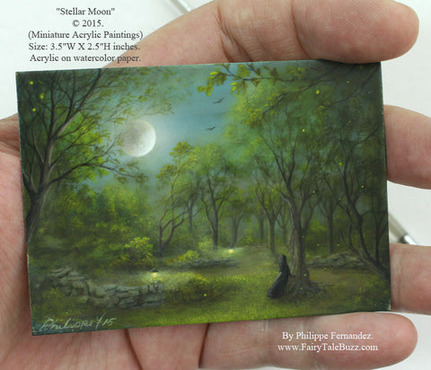 "(SOLD) ""Stellar Moon"" Original Miniature Landscape Painting By Philippe A. Fernandez."