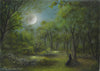 """Stellar Moon"" Original Miniature Landscape Painting By Philippe A. Fernandez."