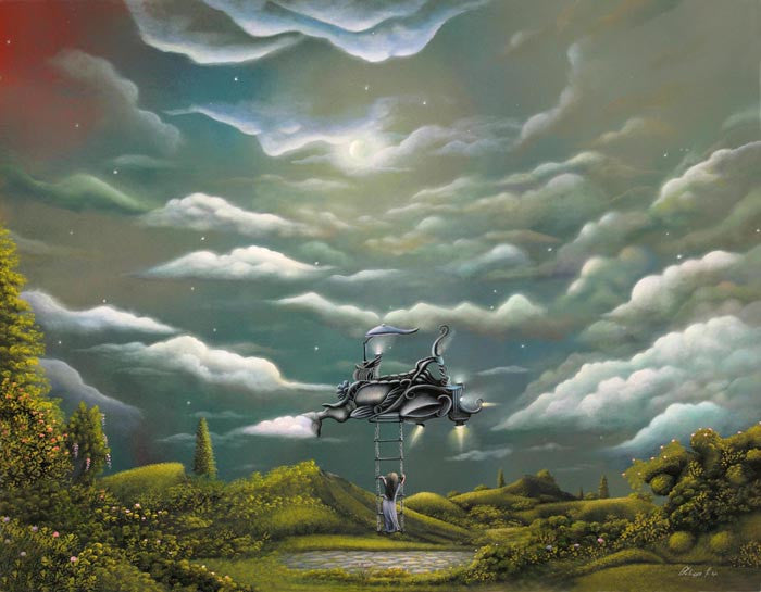 """The Cloud Machine"" 20"" x 16"" Original Landscape Painting By Philippe A. Fernandez."