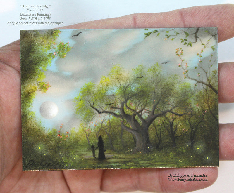 "(SOLD) ""The Forest's Edge"" Original Miniature Landscape Painting By Philippe A. Fernandez."