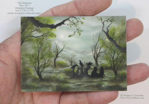 """The Gathering"" Original Miniature Landscape Painting By Philippe A. Fernandez."