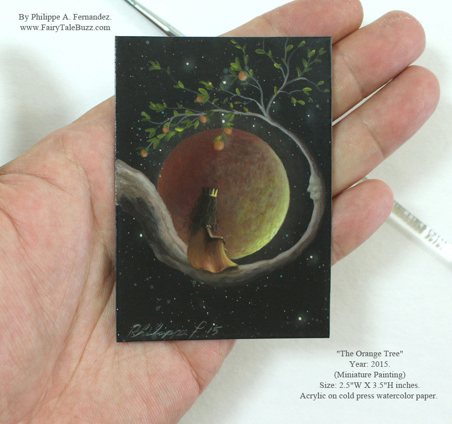 "(SOLD) ""The Orange Tree"" Original Miniature Landscape Painting By Philippe A. Fernandez."