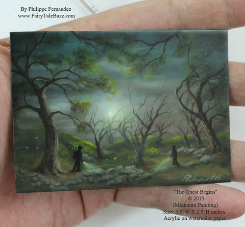 "(SOLD) ""The Quest Begins"" Original Miniature Landscape Painting By Philippe A. Fernandez."