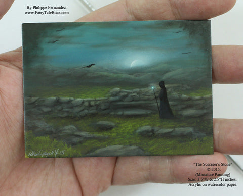 "(SOLD) ""The Sorcerer's Stone"" Original Miniature Landscape Painting By Philippe A. Fernandez."