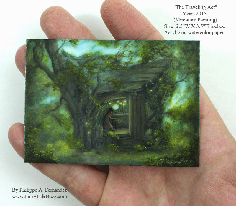 "(SOLD) ""The Traveling Act"" Original Miniature Landscape Painting By Philippe A. Fernandez."