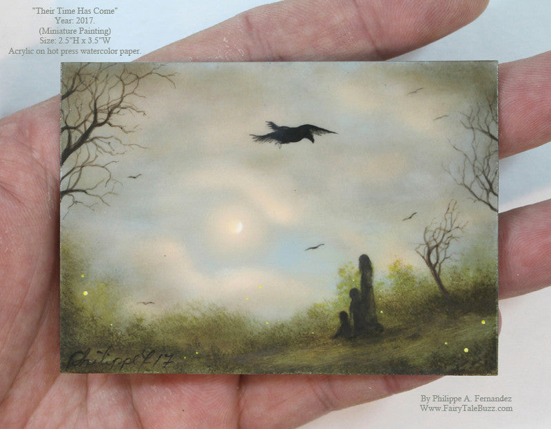 """Their Time Has Come"" Original Miniature Landscape Painting By Philippe A. Fernandez."