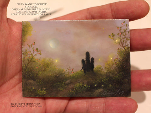 """They want to Believe"" Original Miniature Landscape Painting By Philippe A. Fernandez."